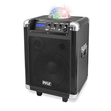 "Disco Jam Portable Bluetooth PA Speaker System with LED Party Lights, Built-in Rechargeable Battery, Wireless Headset, Handheld & Lavaliere Microphones, AM/FM Radio, 10"" Subwoofer, 400 Watt"