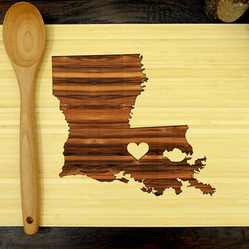 Personalized Wedding Gift, Custom Engraved Wood Cutting Board, Louisiana State Map, Heart, Anniversary Gift, Engagement Gift, Bridal Shower