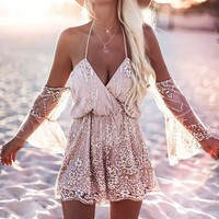Off Shoulder Sparkle Mesh Beach Romper (6-31)