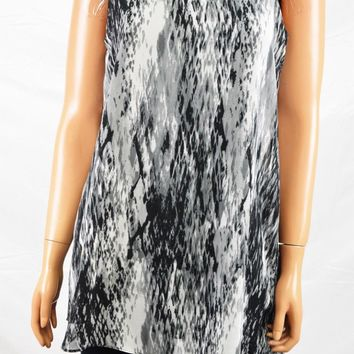 Joseph A Women Crew Neck Sleeveless Gray Printed Asymmetric Tunic Blouse Top S