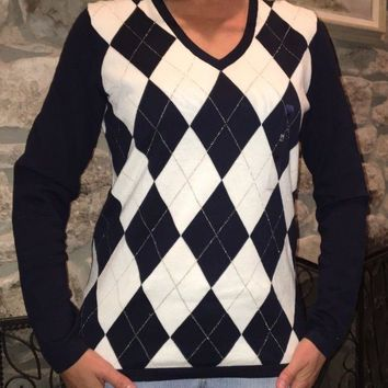 Tommy Hilfiger Women's Career/Casual Argyle-Pattern V-Neck Sweater size M