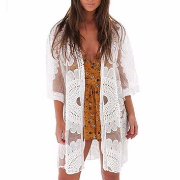 LMF78W 2017 Hot Sale Women Lace Crochet Floral Beach tunic Top Bikini Cover Up saida de praia #E0
