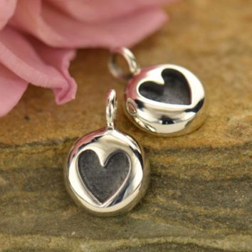 Tiny Heart Charm - Etched Heart Dangle