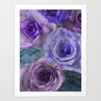 Water Color Roses 1 Art Print by Jennifer Warmuth Art And Design