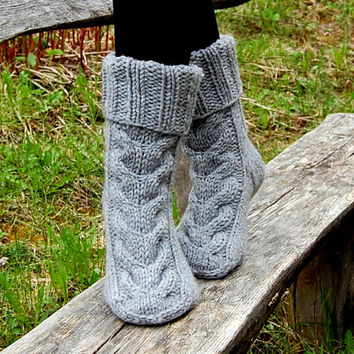 Hand knit wool slipper socks, Knitted Wool Slippers, Slipper Boots, Bed Socks,  Knitted slipper socks, socks for home, socks for sleep