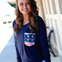 Anchor Dolman {Navy}