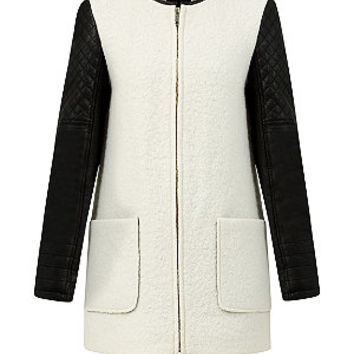 Cream Leather-Look Sleeve Wool Coat