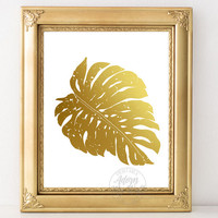 Monstera leaf print, tropical leaf, gold, botanical print, monstera deliciosa, home decor, monstera leaf, tropical decor, wall art, tropical