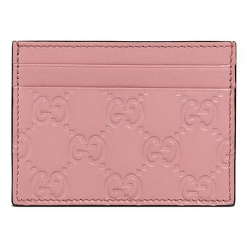 Gucci Women's Guccissima GG Pink Leather Card Case Wallet 233166