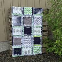 Elephant Baby Bedding, Lime Green, Navy Blue, and Gray by A Vision to Remember | A Vision to Remember All Things Handmade Blog: Elephant Baby Bedding, Lime Green, Navy Blue, and Gray by A Vision to Remember