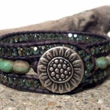 Leather Cuff Bracelet, Pastel Picasso Cuff, Leather Wrap Bracelet, Beaded Cuff, Sunflower Button, Chan Luu Inspired, PZW055