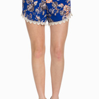 Royal Blue Floral Print Crochet Trim Shorts