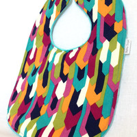 Baby Bib - Modern Baby Bib - Hipster Baby Bib - Pink, Aqua, Green, and Orange Arrow Bib - Aqua Minky Fabric- Handmade Baby Gift