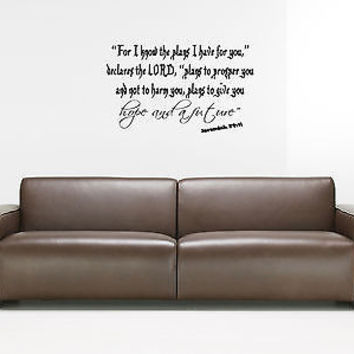 For I Know The Plans I Have For You quote wall sticker decal wall art decor 5490