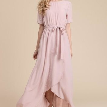 Half Sleeve Solid Maxi Dress - Blush