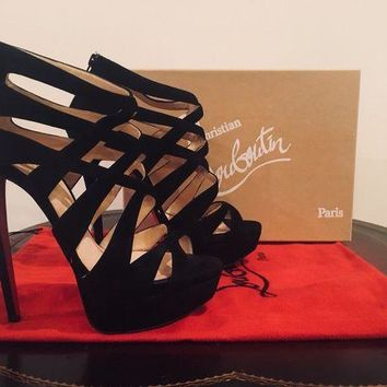 PEAP Christian Louboutin Balota 150 38.5 Black Suede Strappy Zip Up Sandal Gladiator
