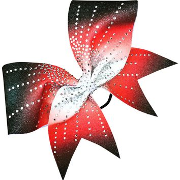 Black, red and white sublimation bow with starburst rhinestones.