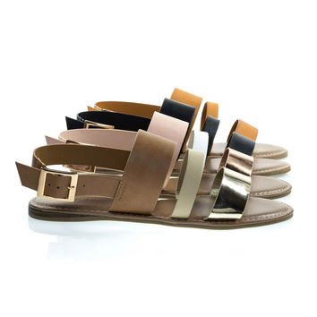 Bliss52m Gold Tan By Bamboo Multi Colored Open Toe Flat Sandal In Faux Leather 7 Metallic Straps