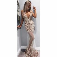 Plunging Sequin Mesh Gown