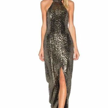 Parker Gold Sequence Halter Maxi Dress