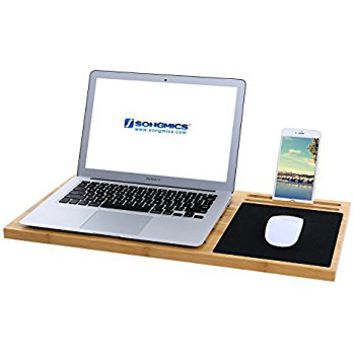 SONGMICS Bamboo Lap Desk Board Multi Tasking Laptop Tablet Cellphone Stand Holder with Built-in Mouse Pad ULLD560