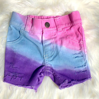 Unicorn shorts - baby, Toddler, Kids - Girls, Hand - Dyed / Distressed (3m-12y) custom denim, Jean Shorts, Girls Clothes, Custom