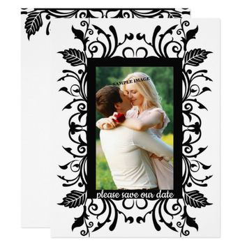 Save our Date, Elegant Black & White, Custom Photo Card