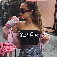 Women Fashion Print Letter Sleeveless Strapless Off Shoulder Crop Tops Wrap Chest