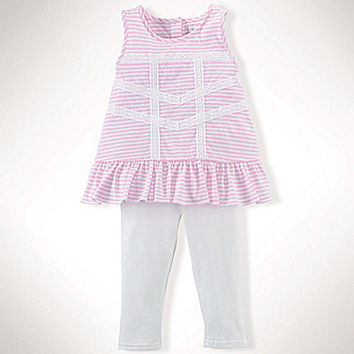 Ralph Lauren Childrenswear 3-24 Months Stripe Lace-Trimmed Top & Leggi