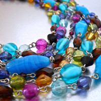 Multi 7 Strand Glass Necklace by LIA SOPHIA, Multi Colors, Vintage
