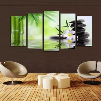 5Pcs Green Huge Modern Abstract Wall Decoration Art Oil Painting Canvas Set