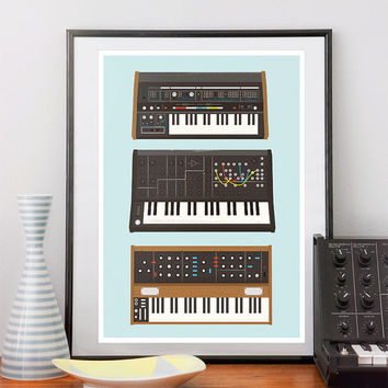 Synthesizer Music Poster Nerd geek Retro print Minimoog by handz