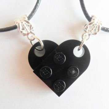 Black Lego Couple Heart His and Her Necklace Set, Black Lego heart necklace set | eBay