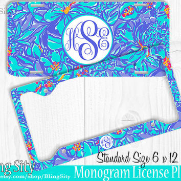 Tropical Blue Mai Tai Monogram License Plate Frame Holder Metal Sign Car Truck Tags Personalized Custom Vanity Aqua Purple Lilly Inspired