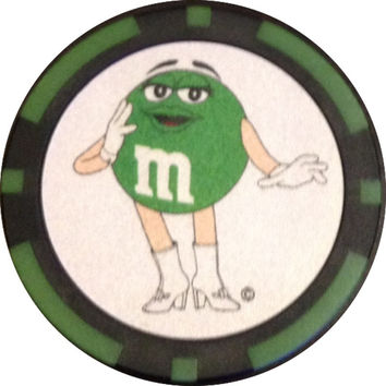 M&M's World Green character Poker Chip New