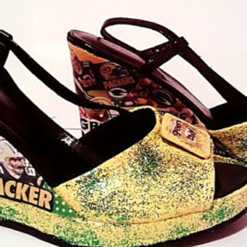 Size 7  Green Bay Packers Wedges Packers Shoes