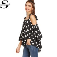 Sheinside Cute Polka Dot Blouses Women Black Sexy Cold Shoulder Bow Tie Summer Tops 2017 Fashion Casual Clothing Elegant Blouse