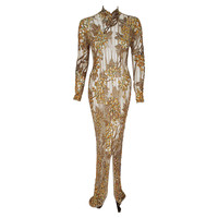 1995 Iconic Sharon Stone Casino Gold Sequin Beaded Illusion Gown By Bob Mackie