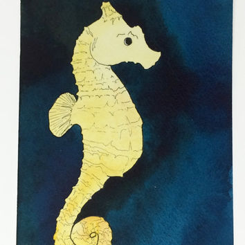 Seahorse Wall Decor, Seahorse Art, Seahorse Decor, Seahorse Painting, Sea Horse Watercolor, Original Artwork, Ocean Animal Themed Wall Art