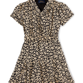 Cap-Sleeve Floral A-Line Dress, Black, Size 2T-6X,
