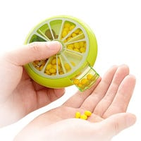 Mini Cute Fruit Portable Pill Case Splitters With Rotatable Cover Button Weekly Pill Box Moistureproof