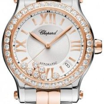 Chopard - Happy Sport Automatic - Round Medium 36mm - Stainless Steel and Rose Gold with Diamonds