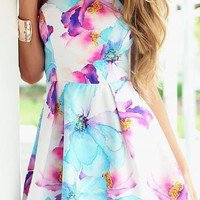 Turquoise & Fushia Floral Dress