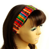 Peruvian fabric, Peruvian textile, Multicolor, Woven Turban Headband, Headband Head Wrap, boho headband, wide headband