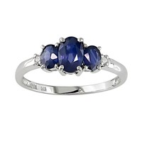 10k White Gold Sapphire & Diamond Accent 3-Stone Ring (Blue)