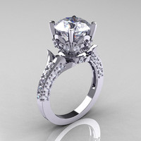 Classic French 14K White Gold 3.0 Carat Simulation Diamond CZ Solitaire Wedding Ring R401-14KWGSDCZ