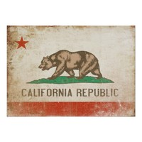 Poster with Distressed California Flag
