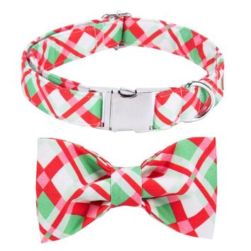 Unique Style Paws Christmas Plaid Collar Personalized with Bow Cute Gift  for Dogs and Cats