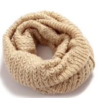 Beige Hollow Out Knitted Neck Wrap
