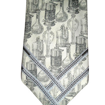 Unique 1979 GIANFRANCO FERRE Italian Couture Silver Silk Necktie Victorian Gas Lamps Motif - Rare Collectible